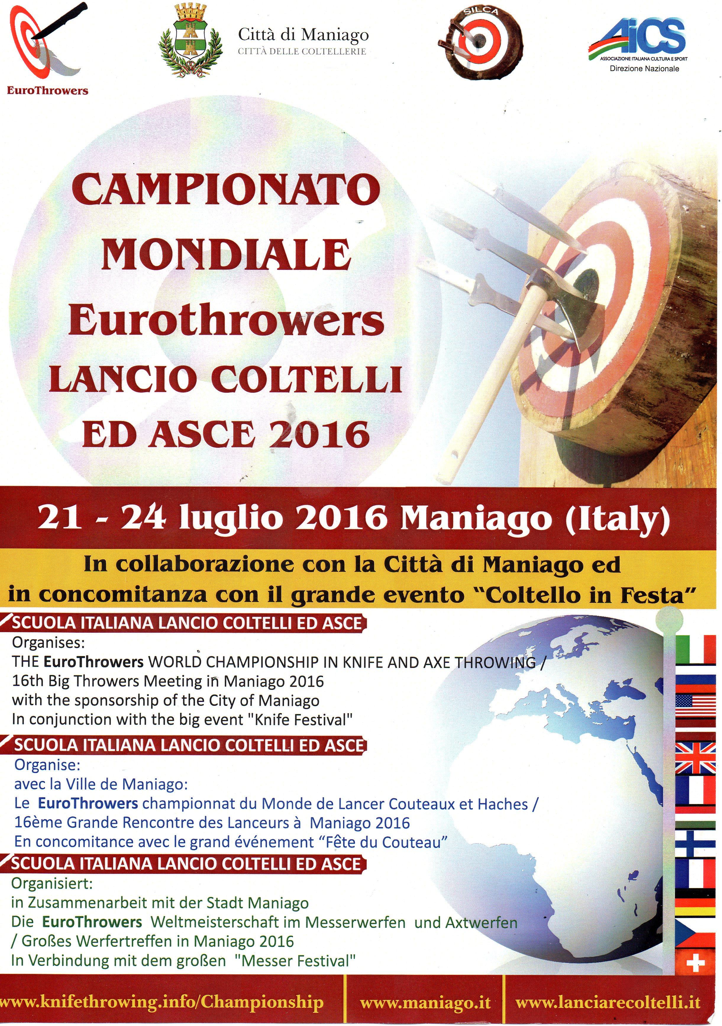 Campionato Mondiale Eurothrowers – Lancio Coltelli ed asce 2016